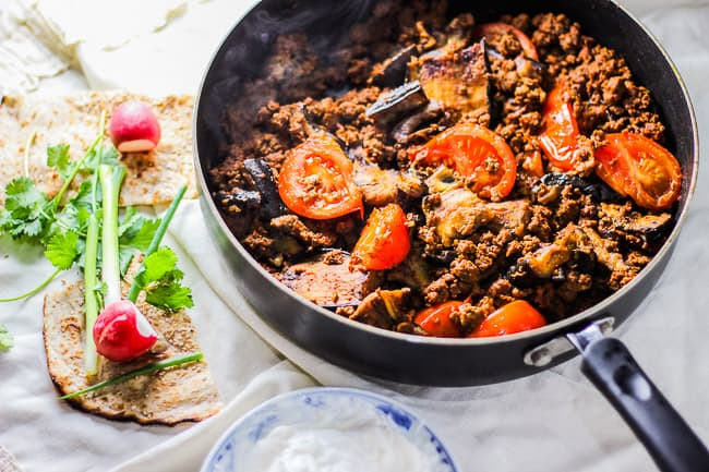 Persian Seared Eggplant and Tomato Beef (Gheimeh Baademjaan)