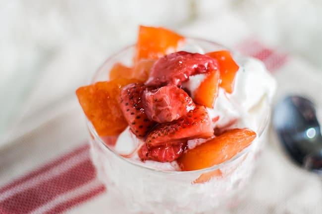 Strawberry Mango Fruit Compote Over Vanilla Ice Cream