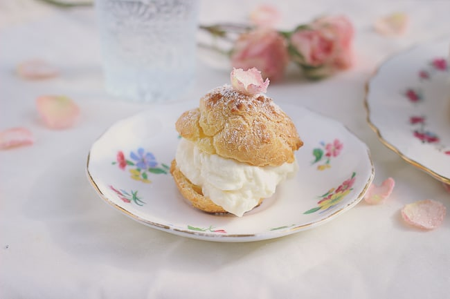 Rosewater Cream Puffs with Sugared Rose Petals-3