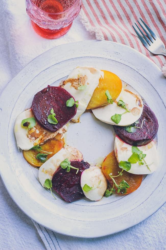 organic beet and fresh mozzarella with watercress salad-13